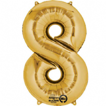 "Gold Number 8 Mini-Foil Balloon (16"" Air) 1pc"